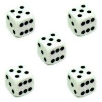 5er Set W6 Würfel Weiß mit schwarzen Punkten