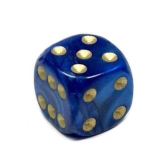 Perlmutt-Farbene Würfel Blau gold Punkte 6 Seitig