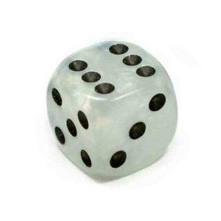 Perlmutt-Farbene Würfel Weiß schwarze Punkte W6
