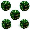 5 Perlmutt-Farbene Würfel Grün gold Punkte