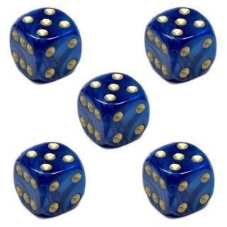 5 Perlmutt-Farbene Würfel Blau gold Punkte