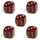 5 Würfel Perlmutt-Rot gold Punkte 5er Set 6Seitig