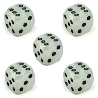 5 Perlmutt-Farbene Würfel Weiß schwarze Punkte