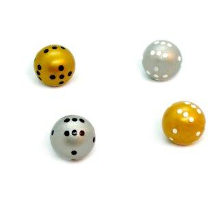 4er Set Runde Würfel in Gold und Silber mit Punkten