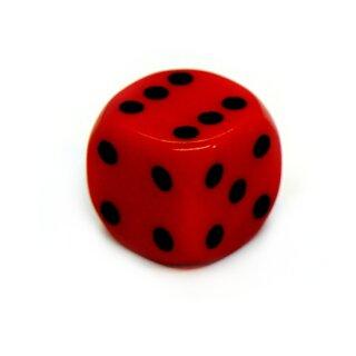 6-Seitiger Würfel Rot mit schwarzen Punkten 14mm