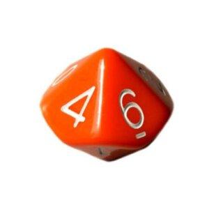 10 Seitige Würfel in Orange mit Zahlen von 0-9