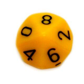 10-Seitiger Würfel Dotter-Gelb mit Zahlen 0-9