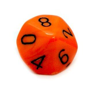 10-Seitiger Würfel Orange mit Zahlen 0-9 W10