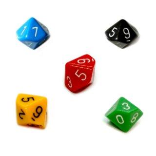 5er Set 10-Seitige Würfel im Farbmix mit Zahlen 0-9