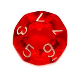 W10 Würfel Transparent Rot mit Zahlen 0-9