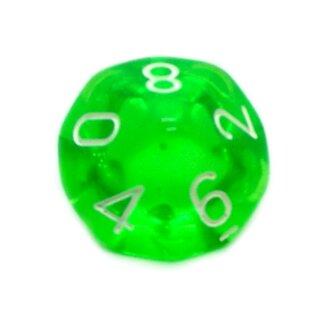 10-Seitiger Würfel Transparent Grün mit Zahlen 0-9