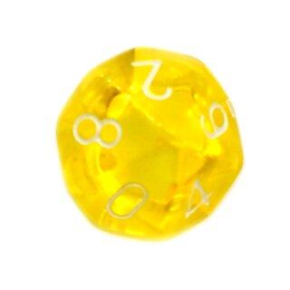 10-Seitiger Würfel Transparent Gelb mit Zahlen 0-9