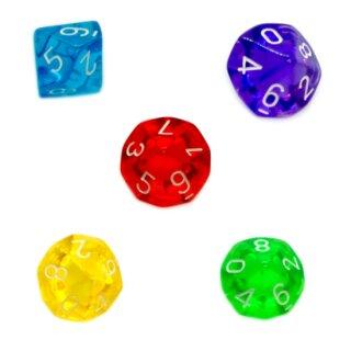 5er Set 10-Seitige Würfel Transparent Farbmix 0-9