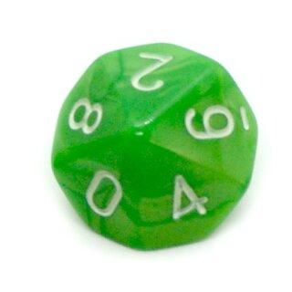 10-Seitiger Würfel Marmoriert- Grün weiße Zahlen 0-9