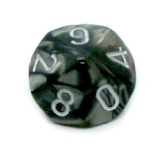 10-Seitige Würfel Marmoriert- Schwarz Zahlen 0-9
