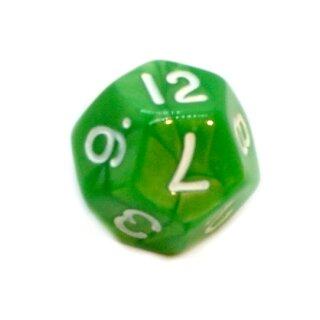 12-Seitige Würfel Grün Perlmutt Marmoriert Zahlen