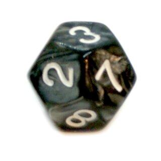 12-Seitiger Würfel Schwarz Perlmutt Marmoriert Zahlen