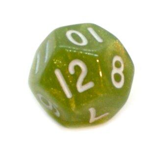 12-Seitiger Würfel Glitzer Grün weiße Zahlen