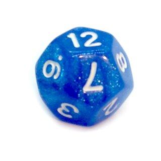 12-Seitiger Würfel Glitzer Blau mit weißen Zahlen