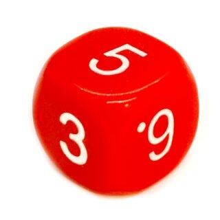 6-Seitiger Würfel runde Ecken Rot mit weißen Zahlen