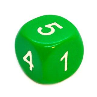 6-Seitiger Würfel runde Ecken Grün weiße Zahlen