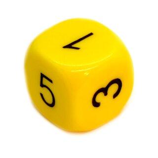 6-Seitiger Würfel in Gelb mit schwarzen Zahlen W6
