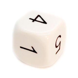 6-Seitiger Würfel in Weiß mit schwarzen Zahlen W6