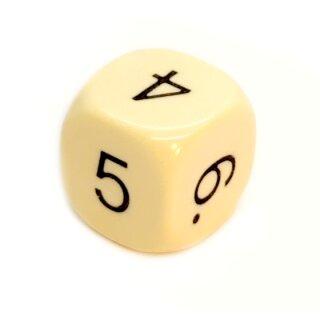 6-Seitiger Würfel in Elfenbein-Farben mit Zahlen W6