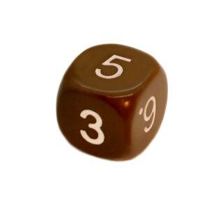 W6 Würfel runde Ecken Braun weiße Zahlen 16mm
