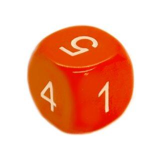 6-Seitiger Würfel runde Ecken Orange weiße Zahlen 1-6