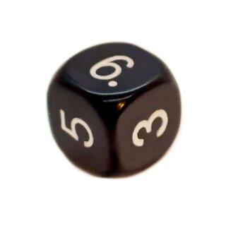 6-Seitiger Würfel in Schwarz mit weißen Zahlen W6