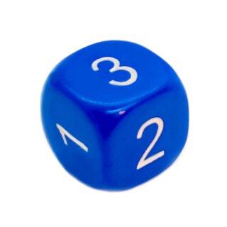 5er Set W6 Würfel runde Ecken Blau Zahlen 1-6
