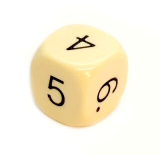 5er Set W6 Würfel runde Ecken Elfenbein mit Zahlen