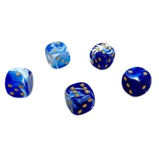 Marmorierte 6-Seitige Würfel 12mm Blau-Weiß