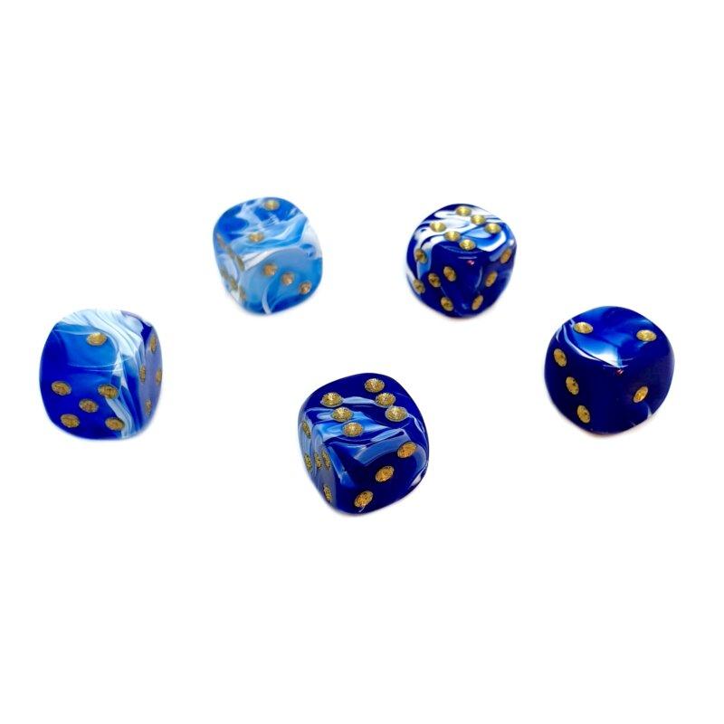 marmorierte Würfel Blau Weiß Goldfarbene Punkte