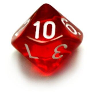 10-Seitige Würfel Transparent-Rot mit Zahlen 1-10