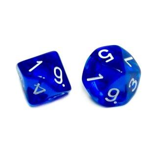 10-Seitige Würfel Transparent-Blau mit Zahlen 1-10