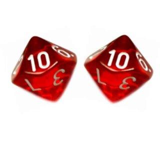 2er Set 10-Seitige Würfel Transparent-Rot Zahlen 1-10