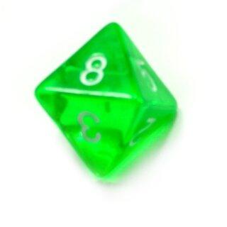 8-Seitiger Würfel Grün Transparent weiße Zahlen 1-8