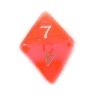 8-Seitiger Würfel Orange-Transparent weiße Zahlen