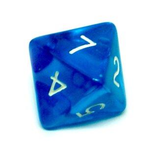 8-Seitiger Würfel Blau Transparent weiße Zahlen 1-8
