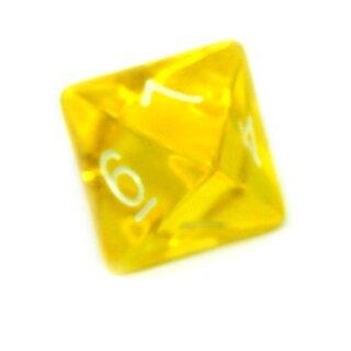 8-Seitiger Würfel Gelb-Transparent weiße Zahlen 1-8