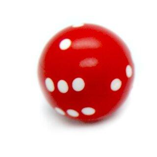 Rundwürfel bunt mit Punkten Rot - Weiß