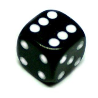 6-Seitiger Würfel Schwarz mit weißen Punkten 16mm