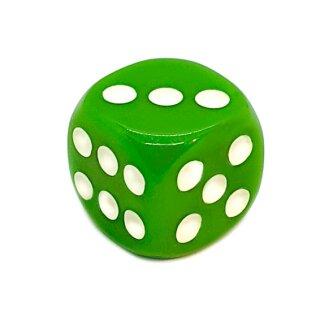 6-Seitiger Würfel Grün mit weißen Punkten 16mm
