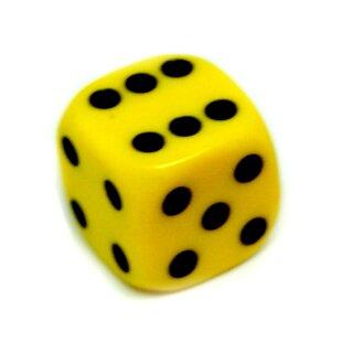 6-Seitiger Würfel Gelb mit schwarzen Punkten 16mm