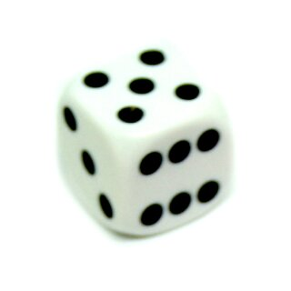 6-Seitiger Würfel Weiß mit schwarzen Punkten 16mm