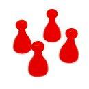 4 Pöppel / Spielfiguren aus Kunststoff Rot
