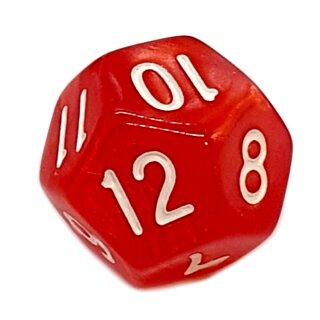 12-Seitiger Würfel Perlmut-Rot mit weißen Ziffern 1-12