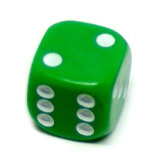 10er Pack 6-Seitiger Würfel Grün Punkte 16mm